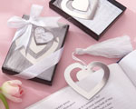 """Love Story"" Silver-Finish Heart-Shaped Bookmark with Elegant Silk Tassel baby favors"