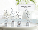 """Love Songs"" Silver-Finish Music Note Place Card/Photo Holder baby favors"