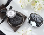 """Reflections"" Elegant Black-and-White Mirror Compact baby favors"