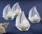 """Set Sail"" Frosted Glass Sailboat Tealight Holders, baby favors"