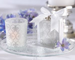 """Fleur-de-lis"" Frosted-Glass Tea Light Holder baby favors"