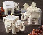 """Lucky Elephant"" Antique Ivory-Finish Tea Light Holder baby favors"