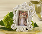 """White Baroque"" Elegant Place Card Holder/Photo Frame baby favors"