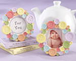 """Cute as a Button"" Round Photo Frame baby favors"