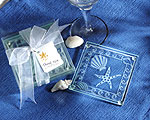 Shell and Starfish Frosted Glass Coasters baby favors