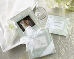 """Good Wishes"" Pearlized Photo Coasters baby favors"