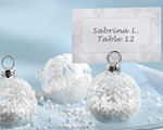 """Snow Flurry"" Flocked Glass Ornament Place Card/Photo Holder baby favors"