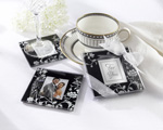 """Timeless Traditions"" Elegant Black & White Glass Photo Coasters baby favors"