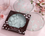 """Cherry Blossoms"" Frosted Glass Coasters baby favors"