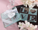 """Clearly in Love"" LOVE Glass Coasters (Set of 2) baby favors"