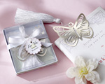 """Butterfly"" Silver-Metal Bookmark with White Silk Tassel baby favors"