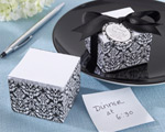 """Damask Elegance"" Note Pad baby favors"