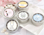 """Simply Sweet"" Round, Personalized Candy Tin - Baby Shower baby favors"