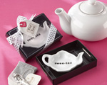 """Swee-Tea"" Ceramic Tea-Bag Caddy in Black & White Serving-Tray Gift Box baby favors"