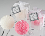 Rose Ball Candle in Gift Box with Matching Bow and Tag baby favors