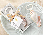 """Shore Memories"" Sea Shell Bottle Opener with Thank you Tag baby favors"