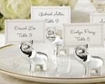"""Lucky in Love"" Silver-Finish Lucky Elephant Place Card/Photo Holder (Set of 4) baby favors"