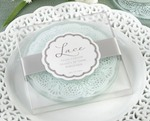 """Lace"" Exquisite Frosted-Glass Coasters baby favors"